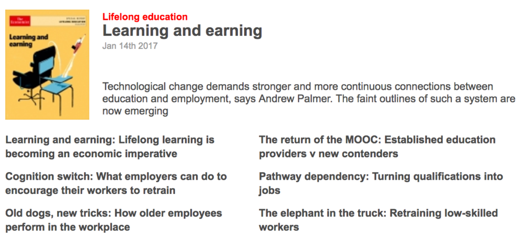 Economist Lifelong Learning Special Report Table of Contents Image